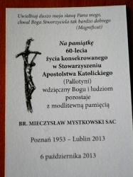 06.10.2013 - Jubileusz 60-lecia profesji br. Mieczysława Mystkowskiego